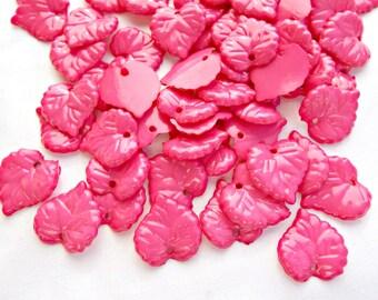 50 Dark Pink Leaves, Heart Shaped Leaf, Pink Acrylic Leaves, Opaque Leaf Beads, 16mm Leaf Beads, Leaf Charms, Jewelry Supplies, UK Seller