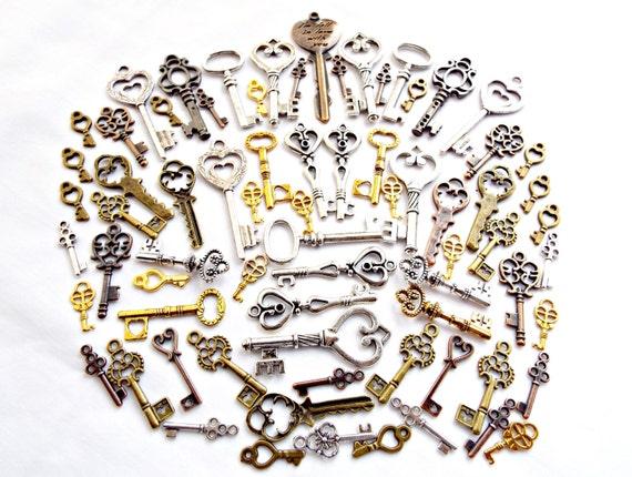 65 key charms bulk key charms mixed metal by