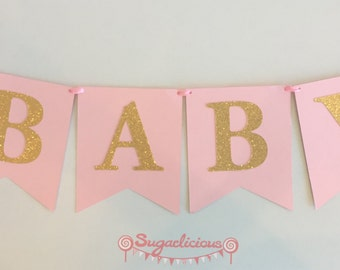 ONE Pink & Gold Glitter Bunting Garland, 1st Birthday party decoration, Birthday girl
