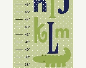 MEGA SALE SALE Personalized Abc Alligator with Green Polka Dot Background Canvas Growth Chart
