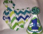 Boys Cake Smash Outfit - Blue Green Lagoon Chevron - Diaper Cover, Tie & Birthday Hat - Birthday Set