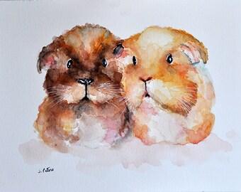 ORIGINAL Animal Watercolor Painting, Colorful Guinea Pigs, Nursery Decoration 6x8 inch