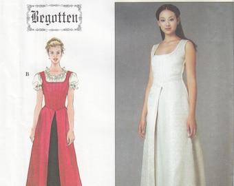 Simplicity 8985 Dress Boned Bodice, Back Laced, Split Overskirt, Puffed Sleeve Top, Celtic, LOTR, Wicca Size 6, 8, 10, 12, 14