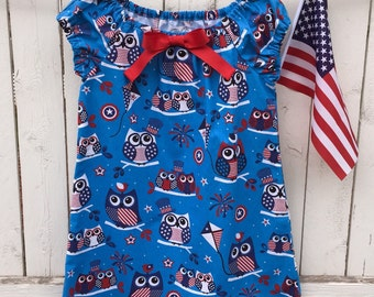 Girls owl dress girls Patriotic dress girls 4th of July dress size 6 peasant dress girls size 6 dress red white and blue dress