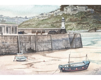 St Ives Harbour painting in watercolor, ORIGINAL watercolor painting, English harbour painting