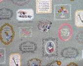 Japanese Fabric ~ Kokka Fabric ~ Alice in Wonderland ~ Sage Green Fabric ~ Home Decor Fabric ~ Cotton Linen Printed Canvas ~ Girls Fabric
