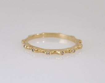 Thin Diamond Band ,  Eternity Ring , Thin Engagement Ring , Dainty Ring , Stacking Gold Band , Fine Gold Ring , Crown Ring