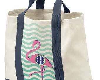 Monogrammed Beach Bag, Cotton Canvas Tote, Personalzed Initials, Tote Bag, Wedding Gift Bag