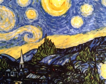 One Half Yard of Fabric Material - The Starry Night