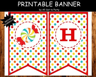 Sweet Shoppe Birthday Banner, Happy Birthday Banner, Candyland Printable Party Decorations, Instant Download