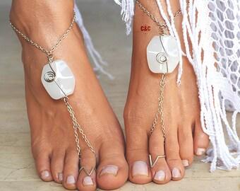 "Women Barefoot Wedding Sandals ""White Ocean Shell"""
