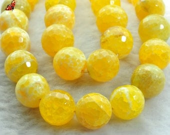 Fire Agate faceted round beads 14mm,27 pcs