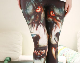 WOLF LEGGINGS/ Predator Steampunk Indian Pants Bottoms/ Hunter Stretchy Tights/ Animal Inspiration Leggings Pants/ Cherokee/ Tights dfb12