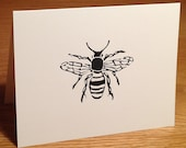 Bee linocut block print card