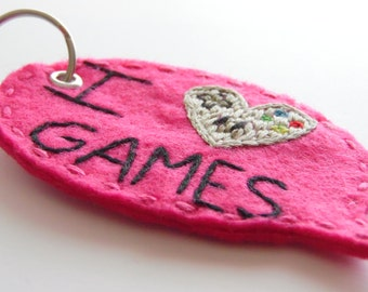 I Heart Games Hand Embroidered Felt Keychain