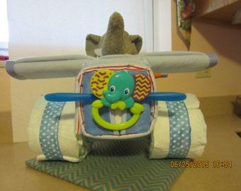 Small Airplane Diaper Cake, Elephant Theme Diaper Cake