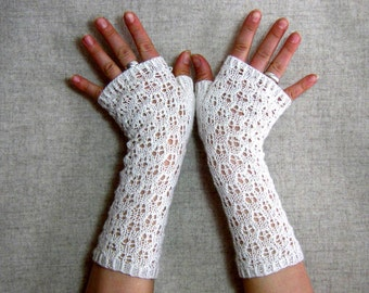 Fingerless Bridal Gloves with Silk Lace White, Wedding Mittens, Bride,