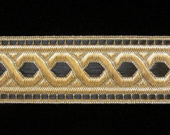 "803.1 Metallic galloon trim ""Hex"" with border - black/gold - 1-1/4"" (30mm)"