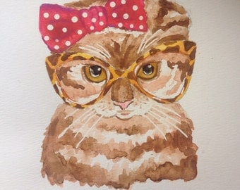 Cat with Glasses - Original Watercolor Painting