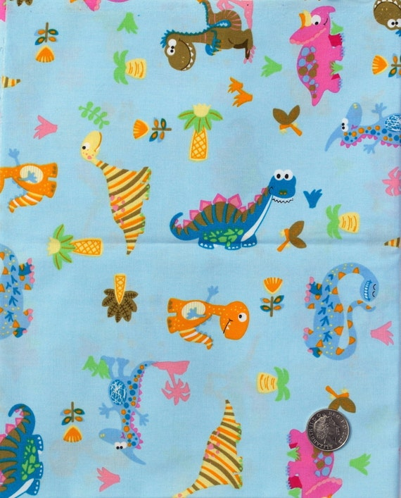 Items similar to fabric children 39 s novelty fabric for Kids dinosaur fabric