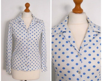 1970s 80s White and Cornflower Blue Polka Dot Blouse - Polkadot Long Sleeve Button Up Shirt M L
