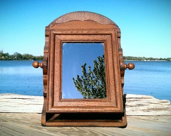Vintage Mirror, Vintage Wood Mirror, Swivel Mirror in the Box, Vanity Mirror, Brown Frame Mirror, Cottage, Cabin Home Decor