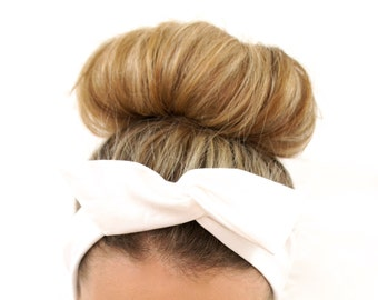 Angel White Dolly Bow Wired Headband, Boho Headband, Women's Headband, Headwrap