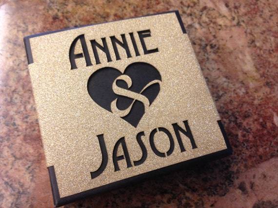 Amersand Heart - Personalized Wedding Gift Card Box - Laser Cut