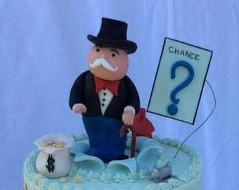 Monopoly Inspired Edible Cake or Cupcake Toppers. Hand Made Fondant Figurines