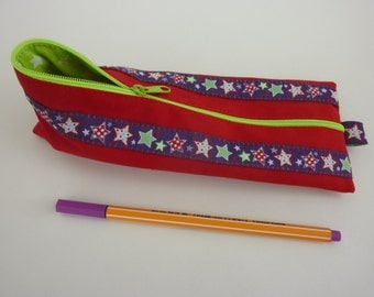 Zipper Pencil Pouch pencil case 'Stars' in red and neon green