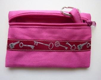 "Key case ""Keys"" in pink / dark red"