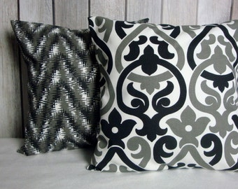 Pillow Covers. Black Grey Pillows. Black Pillow Covers. Grey Pillow Covers. Chevron Pillows