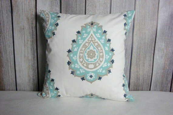 Aqua Pillows. Aqua Grey Pillows. Pillow Covers. Blue White Pillows. Accent Pillows