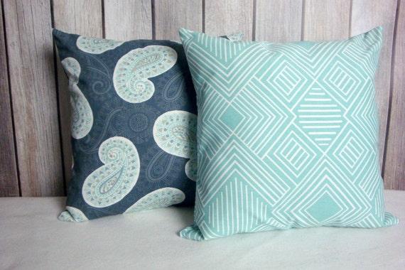 Aqua Grey Pillows. Aqua Blue Pillows. Pillow Covers. Steel Blue Pillows. Accent Pillows