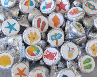 Beach Party - Hershey Kiss, Candy Sticker - Printed,  Kiss Labels - Candy Stickers - Party Favor