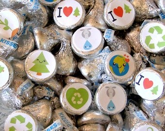 Earth Day - Kiss Labels - Candy Stickers, Green, Environmental, Party Favor, Printed