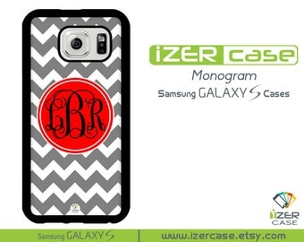 Personalized Monogrammed Samsung Galaxy S6 Case, Galaxy S5 Case, Galaxy S4 Case, Galaxy S3 Case. Gray Chevron with Red