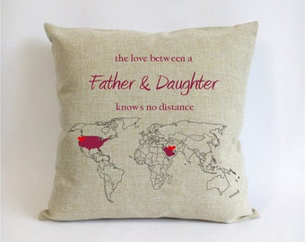 long distance father daughter cushion-burlap world map pillowcase-gift for dad from daughter-love between father daughter knows no distance