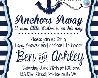 Navy & Light Blue Nautical Baby Shower Printable Invitations