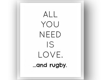 BUY 1 GET 2 FREE!!! Instant download.  Rugby Art. 8x10 printable