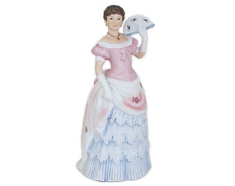 Shall We Dance Victorian Lady Figurine Homco 1421 Porcelain Woman Fan Home Interiors