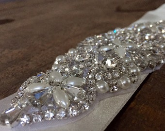 Bridal Rhinestone Applique Sash | bridal motif | Wedding Sash