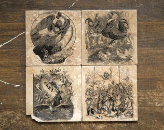 Little Demons Tile Coasters - Set of 4 // Demons // European // Storybook // Illustration // Dark decor // creepy // weird