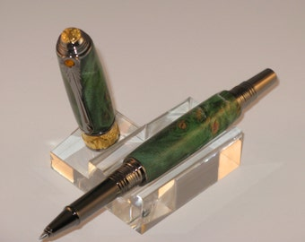 Art DECO --Roller Ball  with Black  Titanium and 22kt Gold-Plate & Stabilized Green Maple Burl Body--
