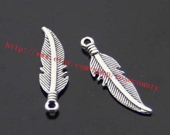 wholesale 150pcs Antiqued Silver 27x6mm Feather charms findings
