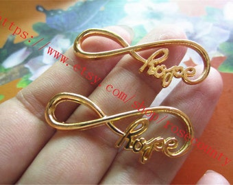 wholesale 100pcs Gold plated Hope Infinity fingue 8 charms findings