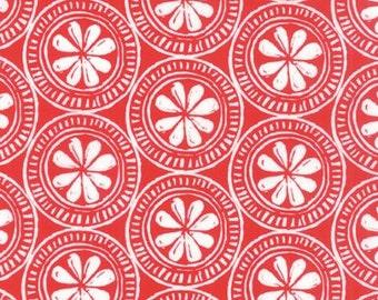 Beach House - Medallion White on Red - 1/2yd