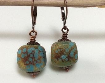 Turquoise Glass Earrings / Copper Leverback Earrings / Lampwork Glass Earrings / Rustic Earrings / Glass Cube Earrings