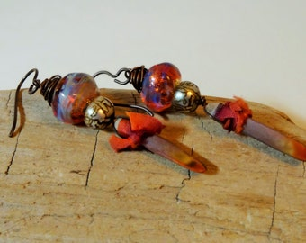 Namaste earrings - Dangle, Bohemian, Ethnic, Yoga, Pink, Orange,  Artisan