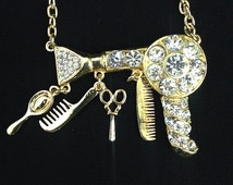 Cosmetologist hair dresser gold rhinestone necklace / blowdryer necklace / hair stylist jewelry / hairdresser gift / rhinestone necklace /
